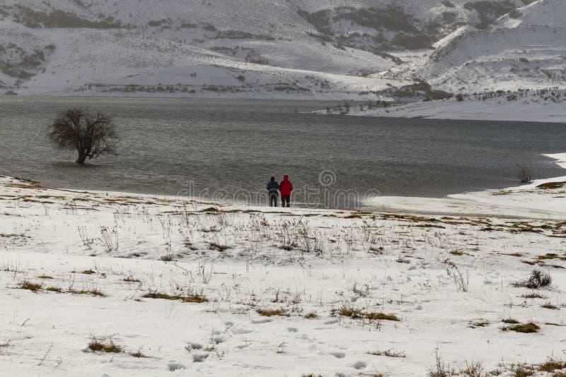 斯诺伊风景的两个人与湖 免版税库存图片