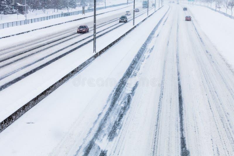 斯诺伊高速公路特写镜头从上面 图库摄影