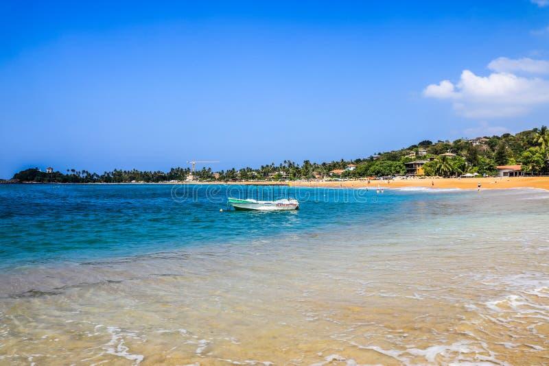 斯里兰卡加勒Unawatuna海滩 库存图片