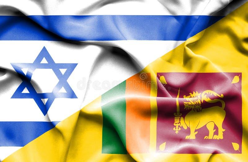 斯里兰卡和以色列的挥动的旗子 向量例证