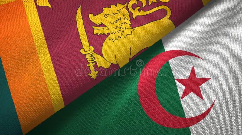 斯里兰卡和阿尔及利亚两旗子纺织品布料,织品纹理 向量例证