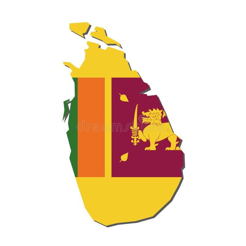 斯里兰卡地图旗子,与旗子传染媒介的斯里兰卡地图 库存例证