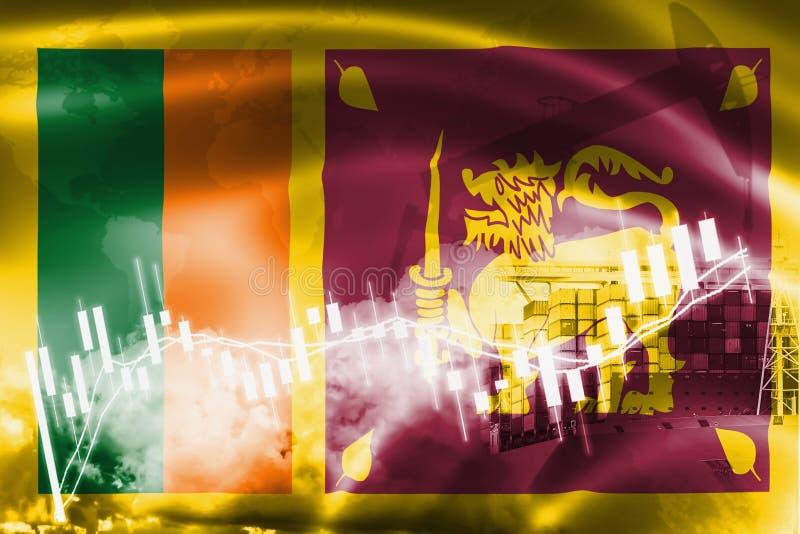斯里兰卡旗子、股票市场、交换经济和贸易,石油生产,在出口和进口业的集装箱船和 图库摄影