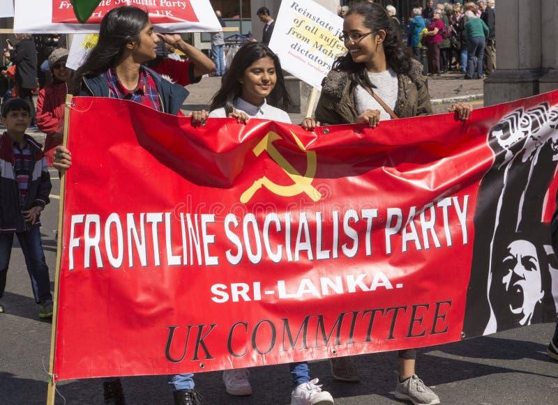 斯里兰卡的前线社会主义党的支持者劳动节集会的 免版税库存照片