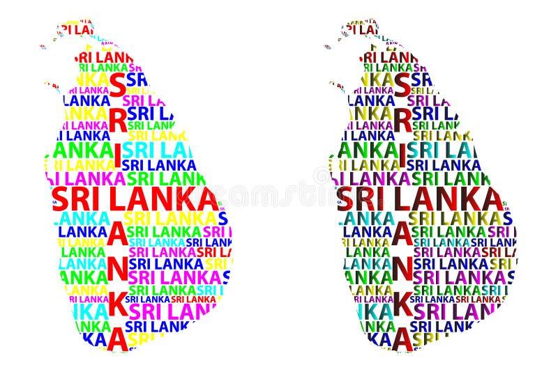 斯里兰卡的地图-传染媒介例证 向量例证