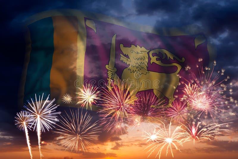 斯里兰卡的烟花和旗子 库存图片