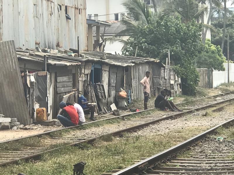 斯里兰卡的贫民窟 免版税库存照片