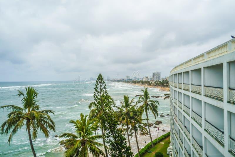 斯里兰卡科伦坡海滩和市 免版税库存图片