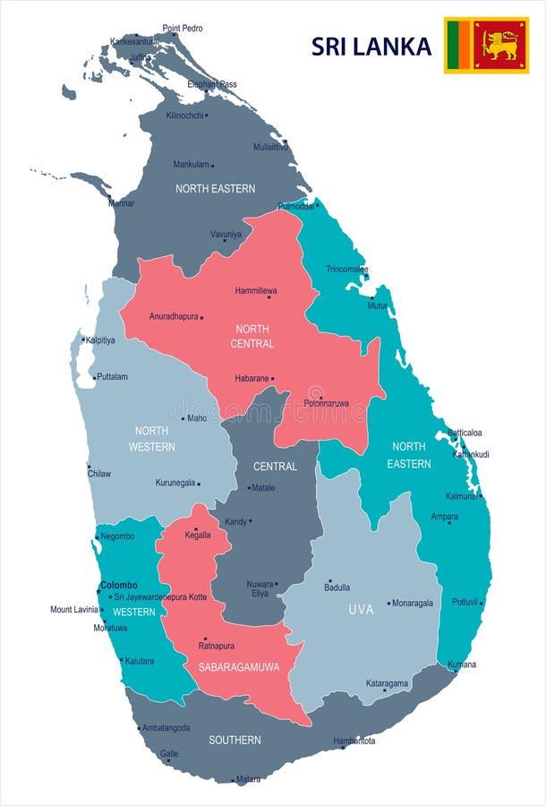 斯里兰卡地图-详细的传染媒介例证.图片