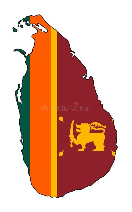 斯里南卡 斯里兰卡传染媒介例证地图  库存例证
