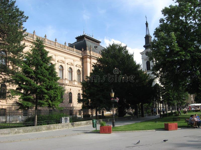 斯雷姆斯基卡尔洛夫奇 老镇,中心广场,伏伊伏丁那,塞尔维亚 免版税库存图片