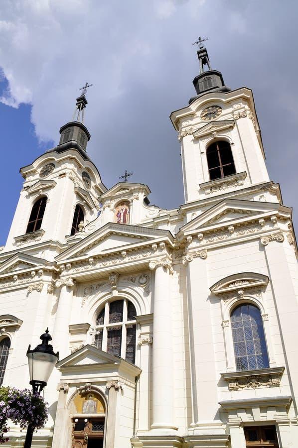斯雷姆斯基卡尔洛夫奇塞尔维亚-大约伏伊伏丁那的镇 圣尼古拉斯正统大教堂 免版税库存图片