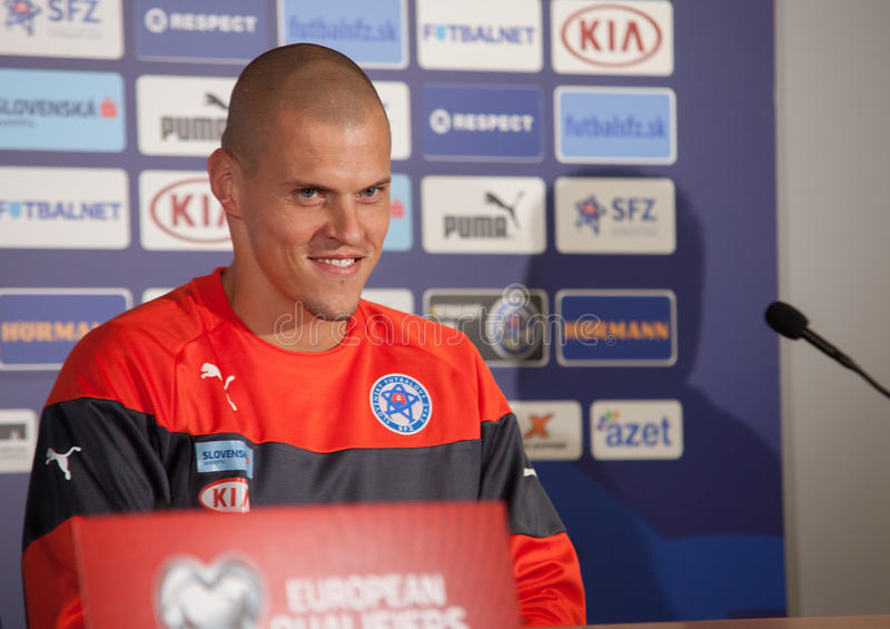 斯洛伐克共和国足球队员球员马丁Åkrtel 免版税库存图片