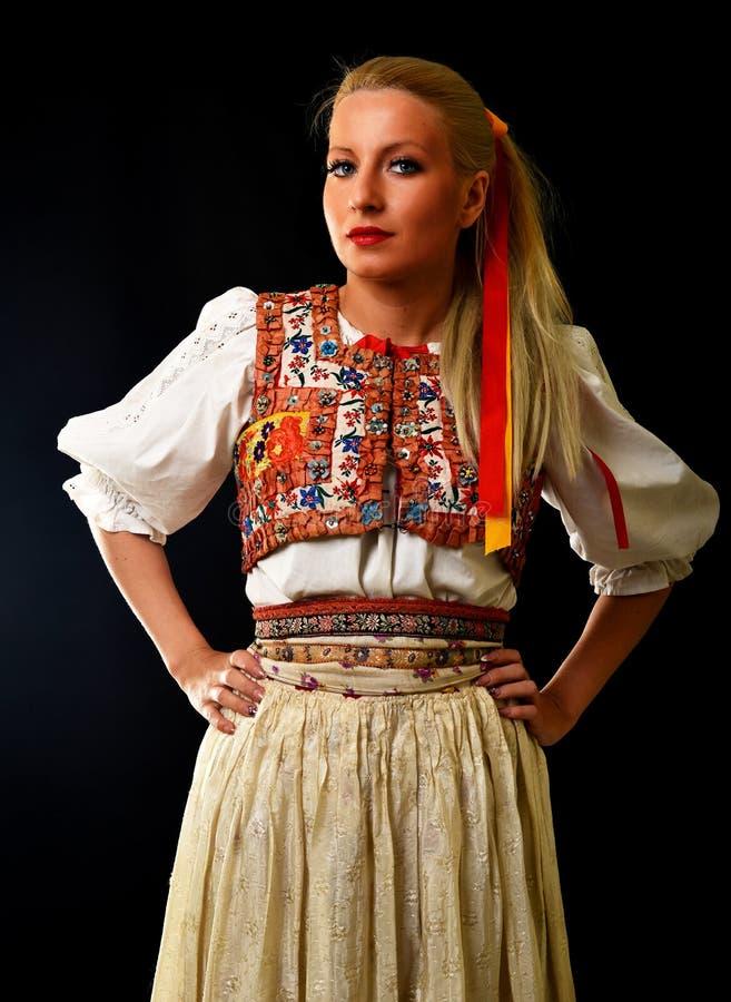 斯洛伐克的民间传说妇女 库存图片