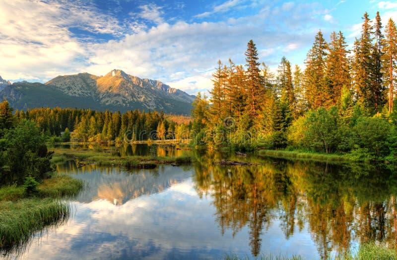 斯洛伐克- Strbske的Pleso Mountain湖 图库摄影