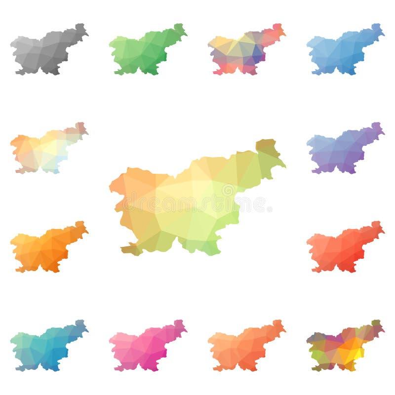 斯洛文尼亚几何多角形,马赛克样式地图 皇族释放例证