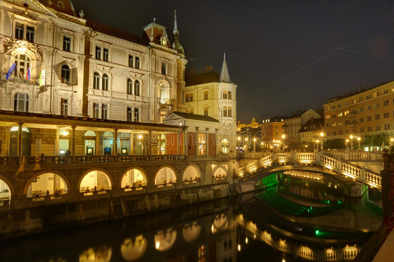 Download 斯洛文尼亚,卢布尔雅那在夜之前-在河Ljubljanica的三倍桥梁 库存照片 - 图片 包括有 反映, 斯洛文尼亚: 72364984