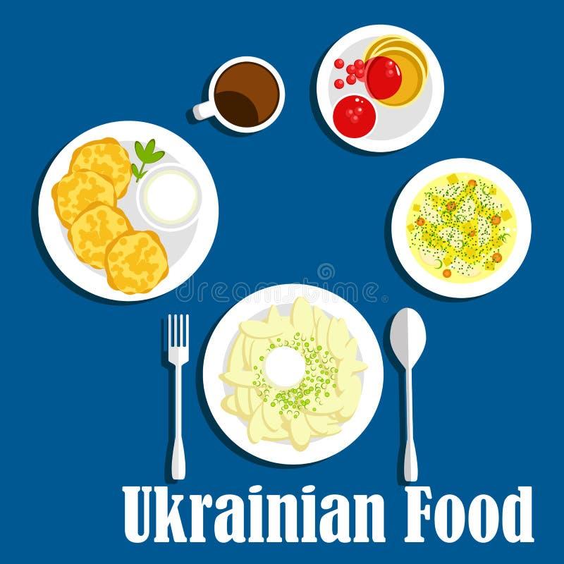 新乌克兰烹调菜和饮料 库存例证