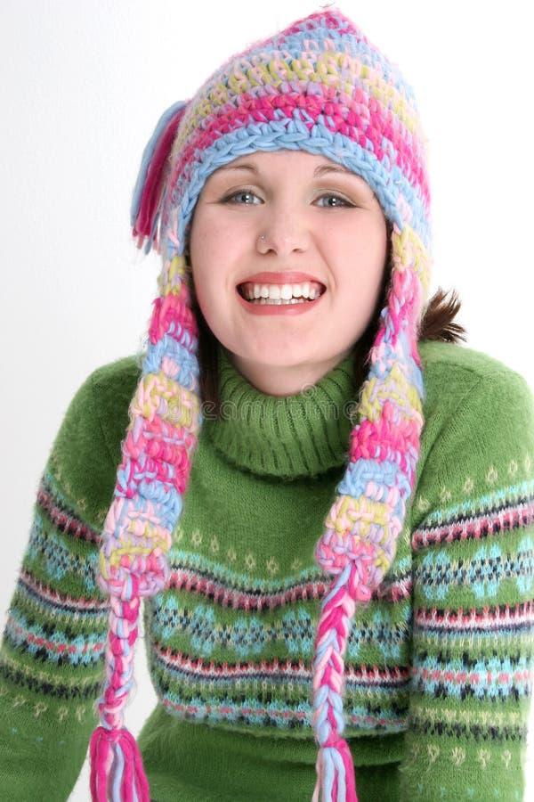 新乐趣青少年的冬天 免版税库存照片