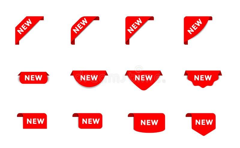新产品的贴纸在商店 新的红色丝带标记 与阴影的横幅丝带 新的标签,销售海报 向量 皇族释放例证