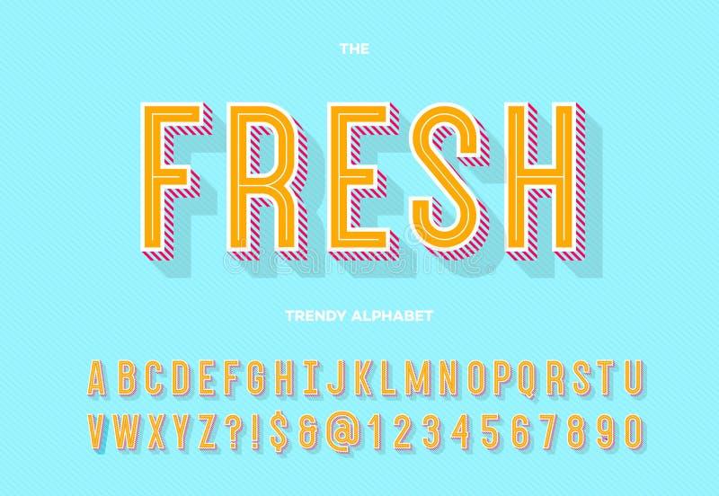 新促进的,党海报字体现代3d印刷术Sans Serif五颜六色的样式, 向量例证