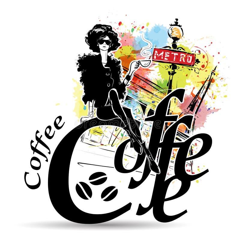 新俏丽的妇女饮用的咖啡 库存例证