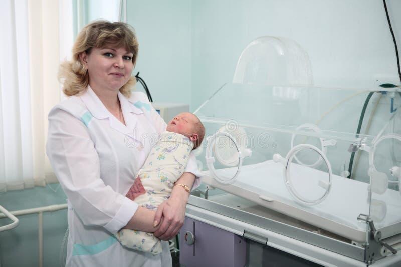 新出生中心的生育子女 库存照片