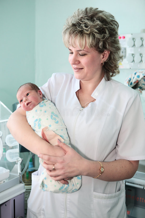 新出生中心的生育子女 免版税库存图片