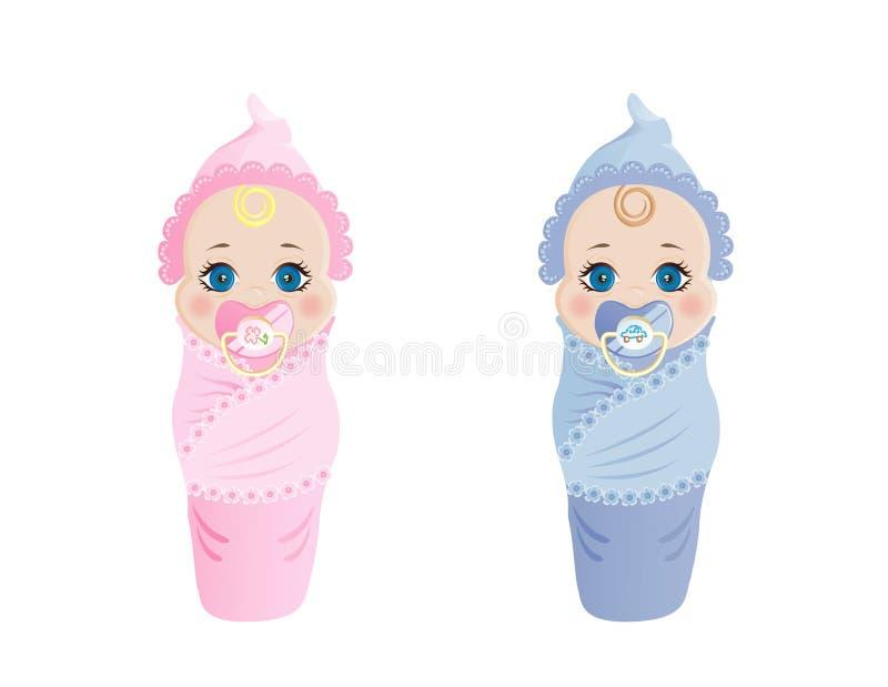 新出生男孩的女孩 免版税库存照片