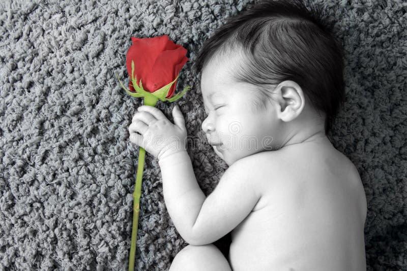 新出生的华伦泰女婴 免版税图库摄影