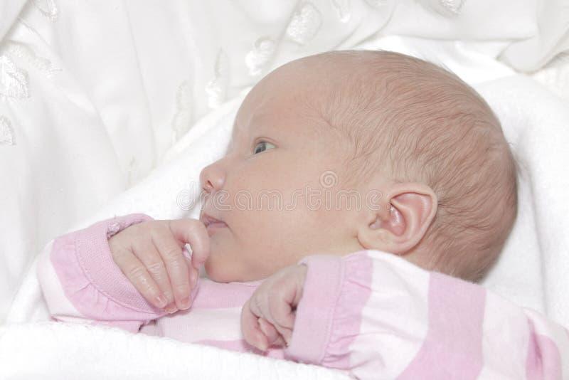 新出生的女婴 免版税库存照片