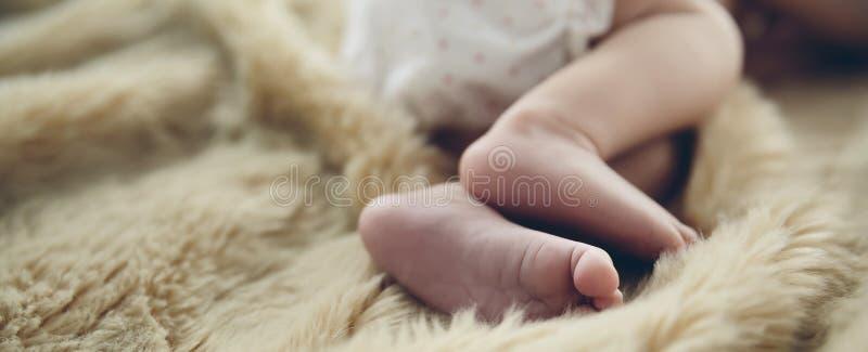 新出生的婴孩脚细节  库存图片