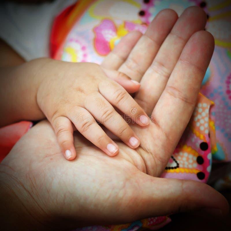 新出生的婴孩移交女性棕榈 库存图片