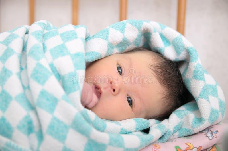 新出生的黄疸,婴孩画象 库存图片