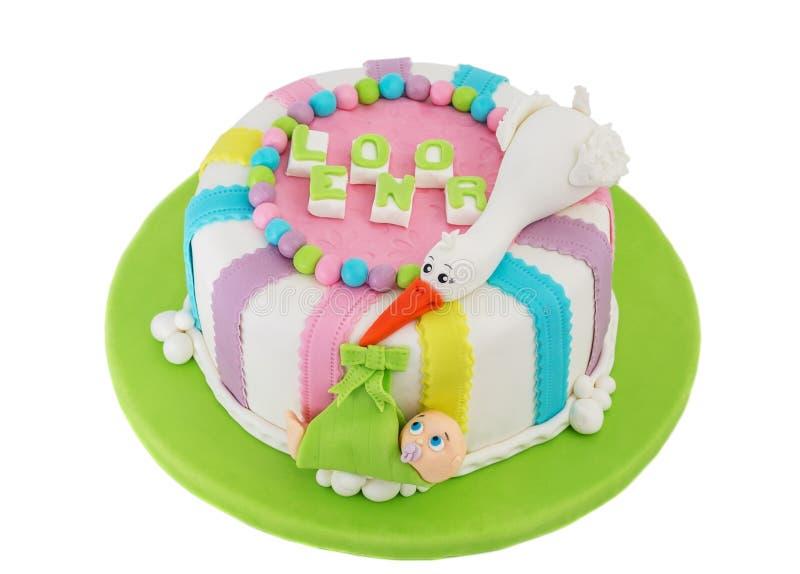 新出生的洗礼的礼物蛋糕 免版税库存照片