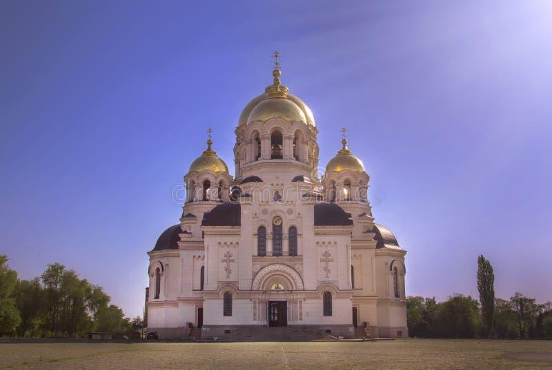 新切尔卡斯特,俄罗斯- 2019年5月05日:上生军事家长式大教堂在新切尔卡斯特 库存图片
