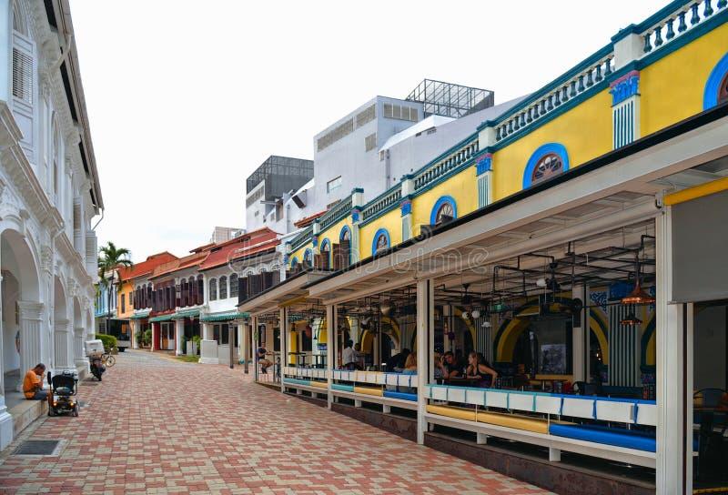 新加坡五颜六色的peranakan遗产房子在充分前殖民地区shophouses 免版税图库摄影
