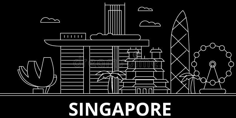 新加坡剪影地平线 中国新加坡传染媒介城市,中国线性建筑学,大厦 新加坡旅行 库存例证