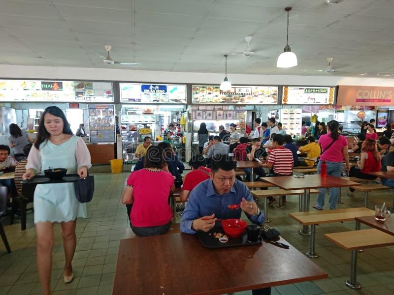 新加坡叫卖小贩中心 免版税库存照片