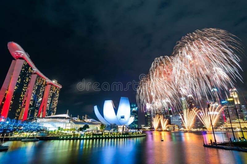 2019-06-29新加坡国庆节烟花显示排练cr3 库存照片
