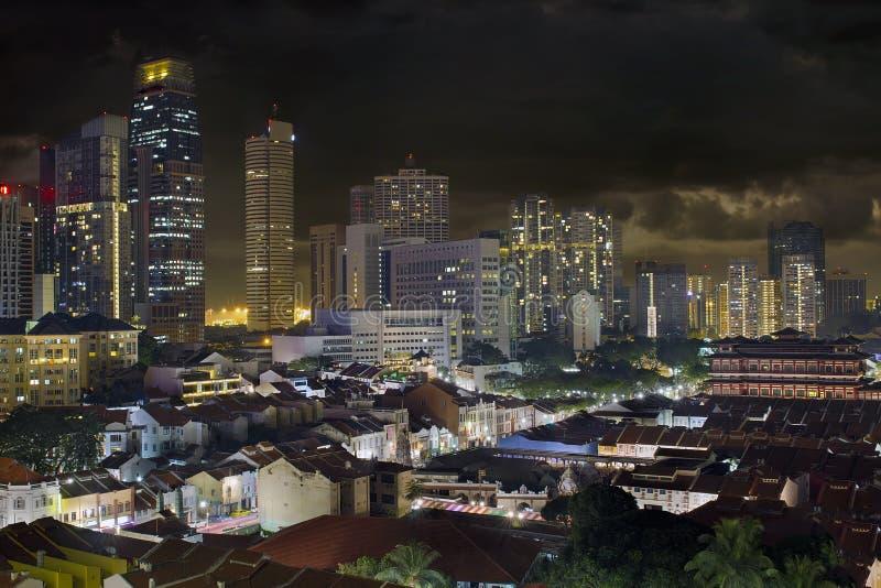 新加坡地平线和唐人街都市风景 免版税图库摄影