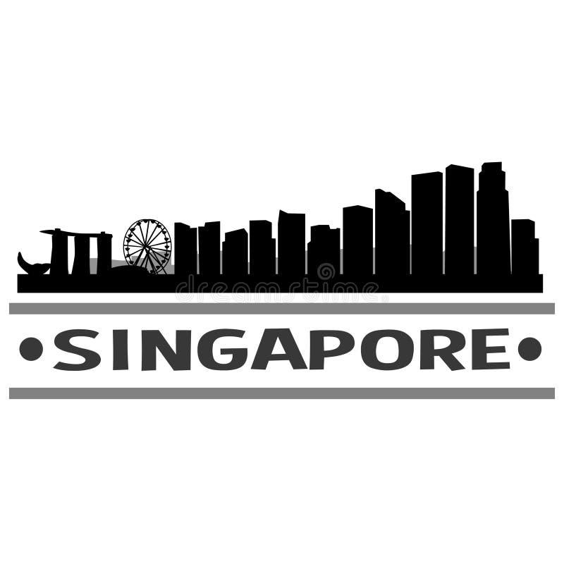 新加坡地平线城市象传染媒介艺术设计 库存例证