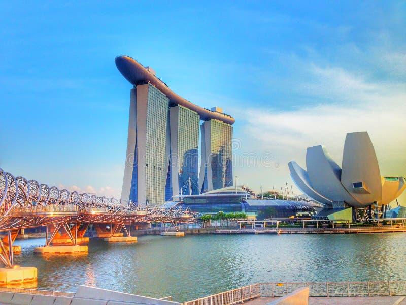 新加坡小游艇船坞海湾沙子和庭院激光展示由海湾 免版税库存照片
