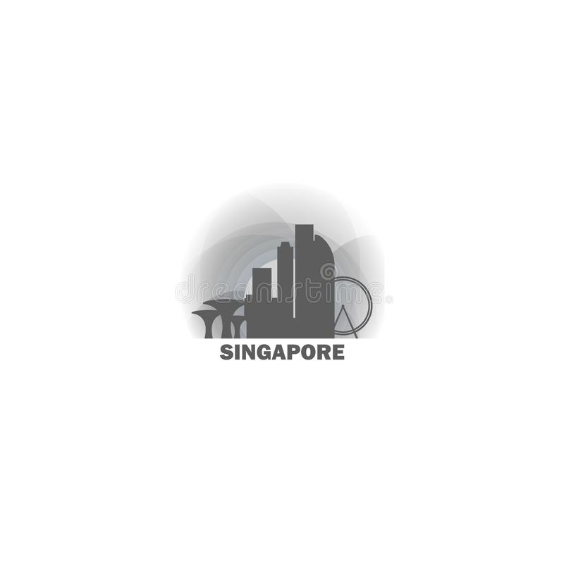 新加坡市地平线剪影传染媒介商标例证 向量例证