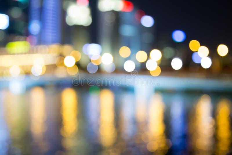新加坡市夜光弄脏了bokeh 免版税图库摄影