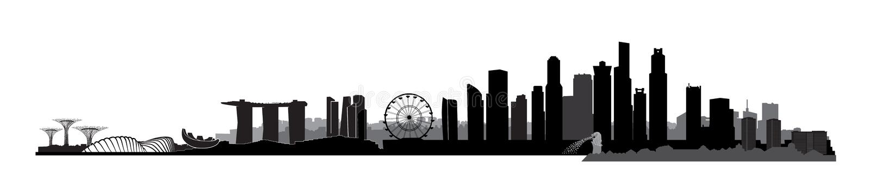 新加坡市,新加坡 与摩天大楼大厦的都市地平线 库存例证