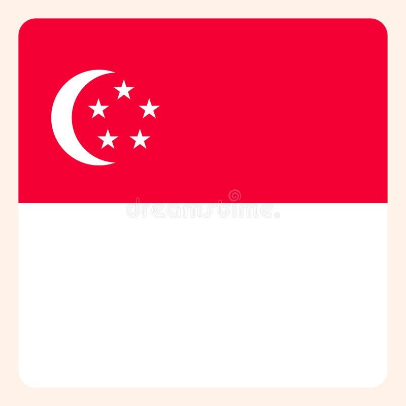 新加坡摆正旗子按钮,社会媒介通信标志, 皇族释放例证