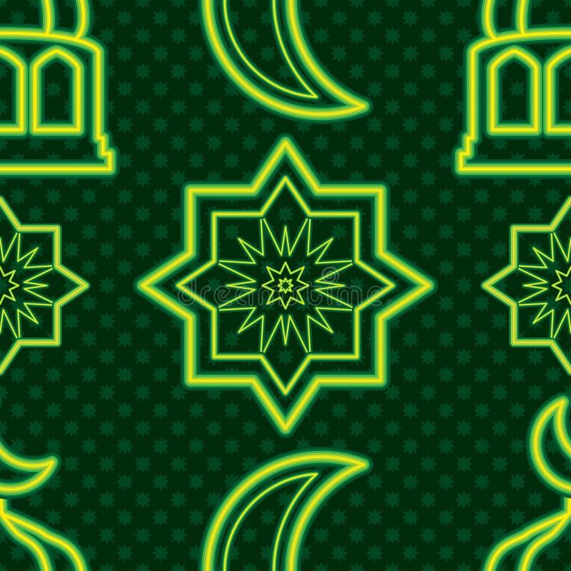 新加坡斋月Kareem绿色霓虹对称无缝的样式 向量例证