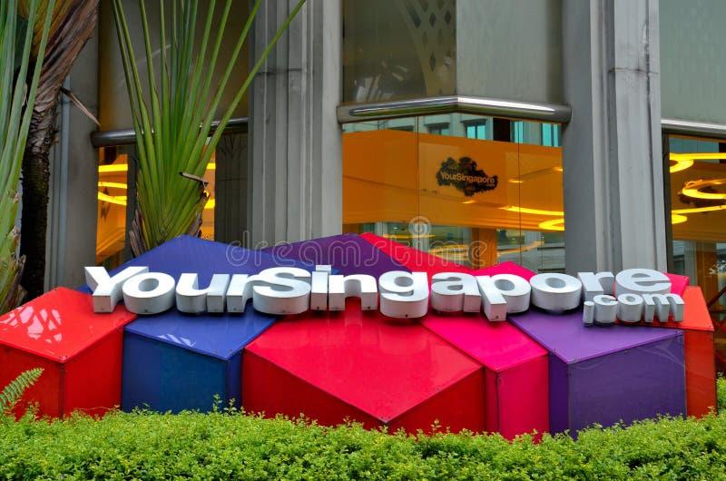 新加坡旅游业委员会办公室和商标-您的新加坡 图库摄影