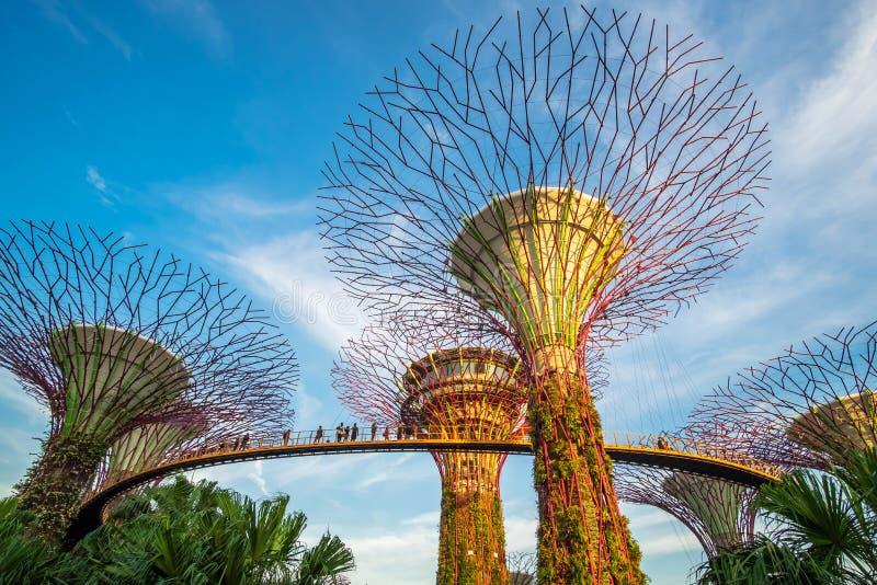 新加坡旅行概念,地标和普遍旅游景点的 免版税库存图片
